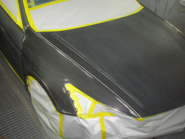 Car in paint booth