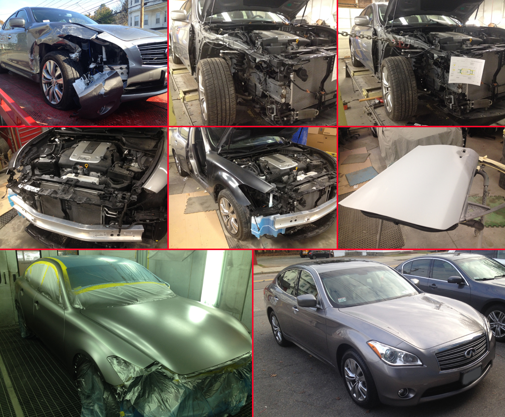 DBA Auto Body, Inc. replaced the fender and repaired the front end of this Infiniti M37.