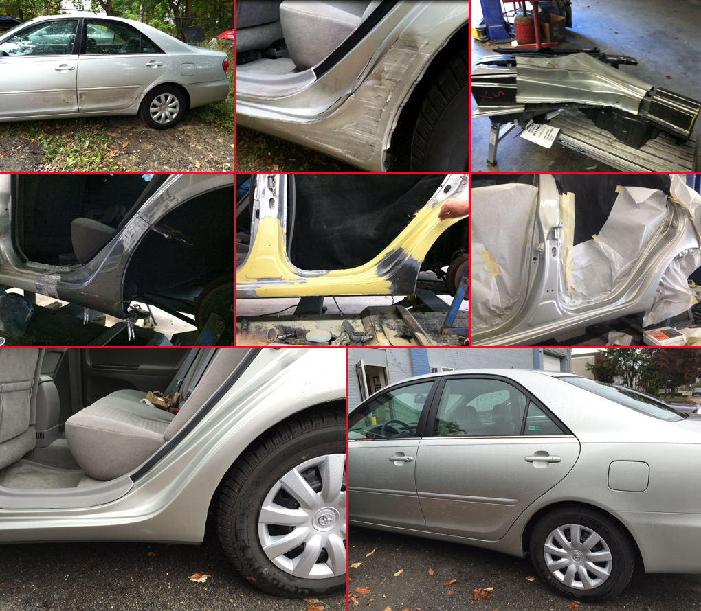 DBA Auto Body, Inc. replaced the damaged dog leg in this Toyota Camry.