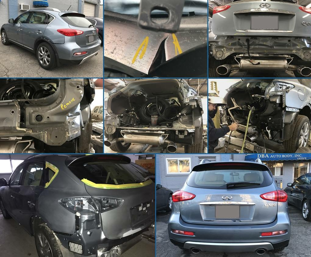 DBA Auto Body in East Walpole, MA repaired this 2017 Infinti QX50 with extensive rear end damage